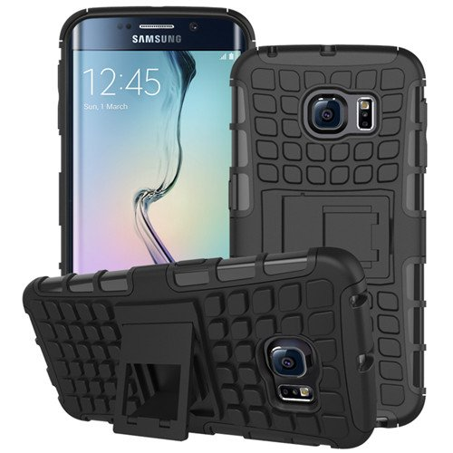 Samsung Galaxy S6 edge Plus SM-G928F Schwarz Outdoor Hybrid Case Panzer Tasche Cover Silikon Handytasche Hülle SCHUTZ Schutzhülle Bumper +Gratis Displayschutzfolie