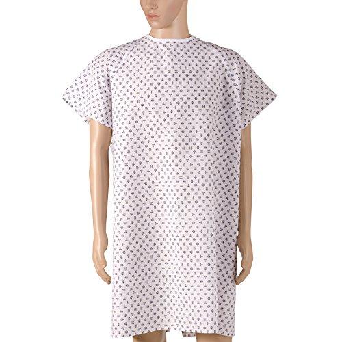DMI Patienten Unisex Krankenhaus Kleider mit Back Krawatte, Print, 12Stück - Unisex-kleid