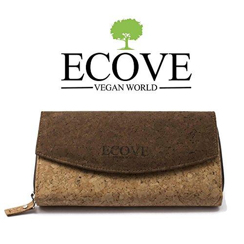 ECOVE - hochwertige und elegante Kork Damengeldbörse, Portemonnaie, Cork Geldbörse mit über 14 Fächern, Größe: 20cmx11cm - 6