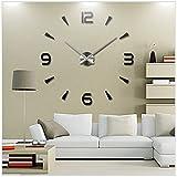 PREMIUM Trendige XXL Silber Wanduhr (∅ 100 cm) individuell gestaltbar & selbstklebend - Wand Uhr Deko Wanddeko Wandtattoo Aufkleber Wandaufkleber