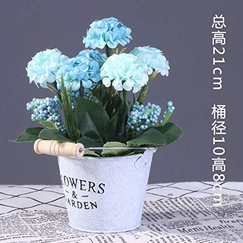 Zswshop secchio di ferro in stile europeo, fiori finti, piante, piante in vaso, cestino di lino, sala da pranzo, decorazione dell'ufficio, ecc, barile di ferro blu cielo ortensia