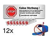 12x Aufkleber Schild Sticker keine Werbung kostenlose Zeitungen, Zeitung, Flyer, Wurfwerbung wetterfest - Werbung nein Danke für Briefkasten