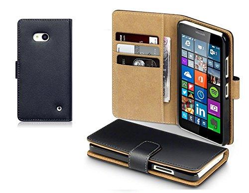 themax® Schwarz Echtleder Wallet Case und Cover für M2Aqua/Z1mini/Z2/Z3/Z3/Z5/Z5Compact/Mini Z5Premium/HTC One M9/Lumia 640/Ace 4/Alpha G850/Core Prime/J1/Note 5/Note 7/S2/S6Edge Plus/S6Edge/Grand Prime G531/J5/J5(2016)/A3(2016)/A5(2016)/A3(2017)/A5(2017)/A5(2017)/J3(2017)/J5(2017)/J7(2017)/S7Edge/S8Plus/S8, Leder, schwarz, LUMIA 640 -