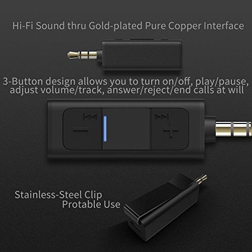Bluetooth Aux Adapter, TekHome 4.2 Bloothooth Adapter Klein, Aux Adapter Auto, Kfz Bluetooth Adapter Audio 3.5mm Musik Empfänger für Kopfhörer und Stereoanlage. - 2