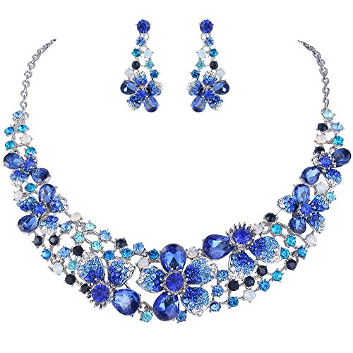 EVER FAITH Women\'s Austrian Crystal Elegant Wedding Spring Flower Necklace Earrings Set Blue Silver-Tone