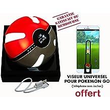 CYMALO Batterie externe pour Pokémon Go (Pokemon Pokeball Powerbank) - VISEUR UNIVERSEL OFFERT- NOUVELLE VERSION - idée cadeau Noël - éclairage LED - capacité de 6000 mAh (10000 mAh théorique) - câble USB/micro USB pour smartphone, MP3,MP4, enceinte, etc. Chargeur de secours - Power bank - Garantie 12 mois - SATISFAIT OU REMBOURSÉ