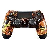eXtremeRate Fire Skulls Design Faceplate, Boîtier Avant Hydrofuge pour Boîtier Avant, Kit de Remplacement pour Playstation 4 PS4 Controller JDM-040