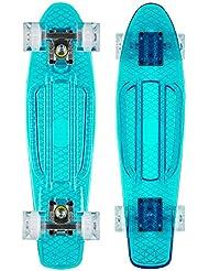 "Ridge Skateboards Blaze Mini Cruiser - Skateboard, color Azul (Transparent Blue Deck/White LED), talla 22-"""