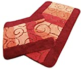 SWIRLS RED ORANGE PINK BATHMAT & PEDESTAL MAT SET LARGE THICK