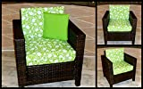 Lime Tulip - New Replacement Cushion Set for Rattan - Cane - Wicker Conservatory and Garden Furniture