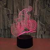 Ybhfc Neues Licht Des Mountainbike 3D Buntes Visuelles Licht Der Note 3D Led Radfahren Buntes 3D Nachtlicht, Berührungsschalter + Fernbedienung