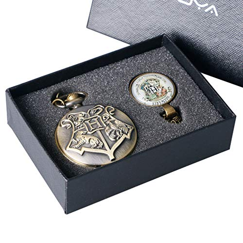 Harry Potter Hogwarts Schul-Taschenuhr für Jungen Mädchen Vintage Quarz Taschenuhr Set für Männer Frauen Weihnachten für Papa Opa