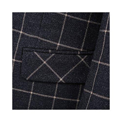 Herren Anzug karriert Retro Vintage Design 3 Teilig Anzugjacke Weste Anzughose Slim Fit Schwarz(2 Knopf)