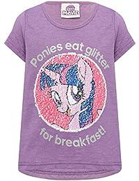 My Little Pony Girls Cotton Blend Purple Short Sleeve Crew Neck Two Way Sequin Design T-Shirt