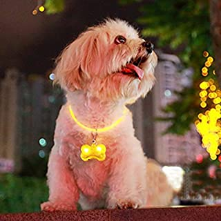 ASTrade Dog Bone Led Flashing Pet Dog Blink Light Tag Collar Cute Safety Durable Lighting