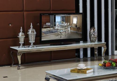 Sideboard Lowboard Sara 200 x 45 x 42 Wohnzimmer designer luxux TV Tisch Büro Edelstahl Glas Barock Chrom Weißglas weiß