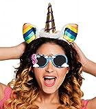 Panelize® Set Einhorn Unicorn Haarreif + Brille Sonnenbrille mit Haarband Haarschmuck Kostüm Verkleidung Zubehör