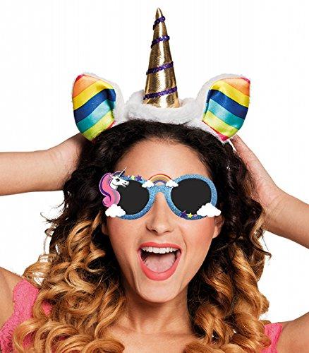 Panelize® Set Einhorn Unicorn Haarreif + Brille Sonnenbrille mit Haarband Haarschmuck Kostüm Verkleidung (Regenbogen Tiara)