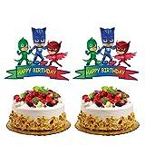 KRUCE 2 Pezzi PJ Masks Cake Toppers per Bambini Forniture per Feste di Compleanno Decorazioni per Torte