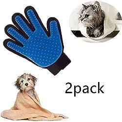Locisne 2Packs perro de mascota Gato limpieza de baño cepillo guante Silicona True Touch para masaje suave y eficiente Grooming Groomer Eliminación de removedor de pelo Limpiar el guante, la mano derecha (2 * mano derecha, azul)
