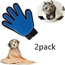 Locisne 2Packs perro de mascota Gato limpieza de baño cepillo guante Silicona True Touch para masaje