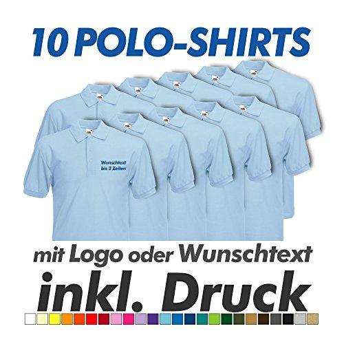Preisvergleich Produktbild 10 Polo Shirts in Wunschfarbe,  Fruit of the Loom,  inkl. Wunschtext / Logo Druck Werbedruck