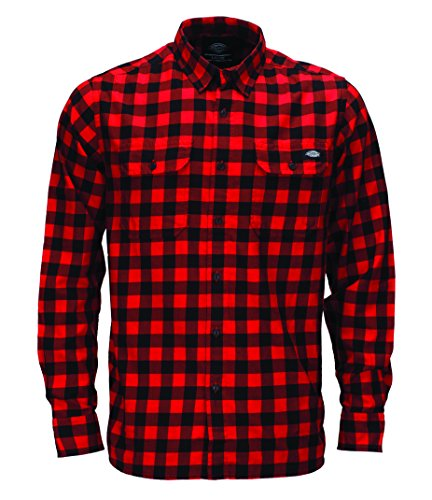 DICKIES - 05 200170 - Jacksonville, Camicia da uomo,  manica lunga, Fiery Red FR, Large (Tallia Produttore: Large)