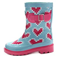 Outee Kids Girls Wellingtons Rain Boots Rubber Boots Waterproof Wellies Heart Shaped Lovely For Toddler Children (Size 5,Pink)