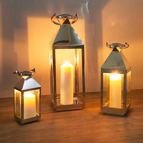 Multistore 2002 Dekoratives 3tlg. Laternen-Set H55,5/40/25cm mit Henkel Edelstahlgestell mit Glasfenstern Laterne Windlicht Gartenlaterne Kerzenhalter Gartenbeleuchtung Dekoration