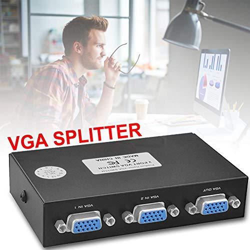 Corwar VGA-Umschalter, 2-Wege-VGA-Splitter-Box, Video-Umschalter, Monitor-Konverter, Adapter-Box, HD 1920 x 1440 mit 2 Anschlüssen, VGA-Sharing-Switch Newcomer - Video Splitter Box