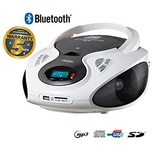 Lauson Radio FM y Reproductor de CD Portátil con USB | Radio FM | USB y Mp3 | CD Player Bluetooth con Salida para Auriculares 3.5mm CP640 (Blanco Bluetooth)
