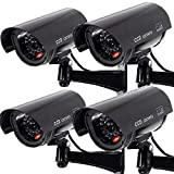 Masione 4 Stück schwarz Dummy CCD Überwachungskamera mit LED Fake Kamera fingierte CCTV Camera Sicherheitskamera