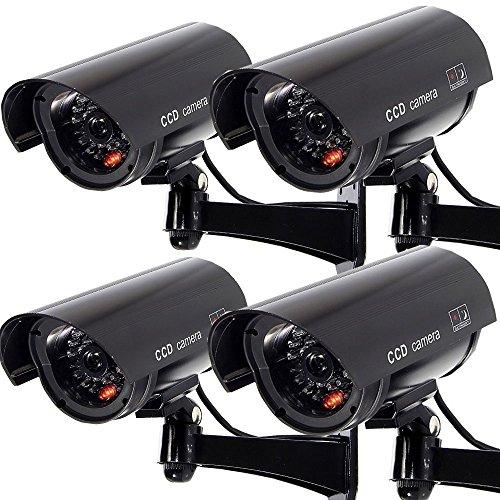 Masione 4 Stück schwarz Dummy CCD Überwachungskamera mit LED Fake Kamera fingierte CCTV Camera Sicherheitskamera Fake-dummy-kamera