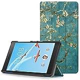 Lenovo Tab 7 Essential Hülle - Ultra Dünn und Leicht PU Leder Schutzhülle mit Standfunktion für Lenovo Tab 7 Essential 17,78 cm (7 Zoll) Tablet-PC, Aprikosenblüte (Nicht für Lenovo Tab3 7 Essential)