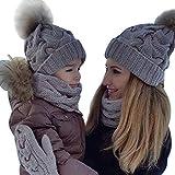 MCYs 2PCS Parent-Child Baby Mutter Strickmütze Wärmer Familie Häkelarbeithut Wollmütze Beanie Ski Hüte&Mützen