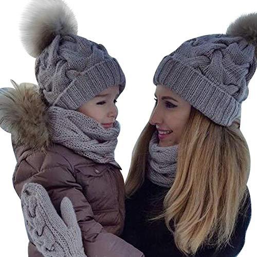 (Ears Mama und Baby Winter Warm Wintermütze Stricken Wolle Winter Halten Mütze Jungen Mädchen Hut Soft Wollene Hüte Kinder Cap Häkelstrick für Baby Kinder Hut (0-5 Monate Baby))