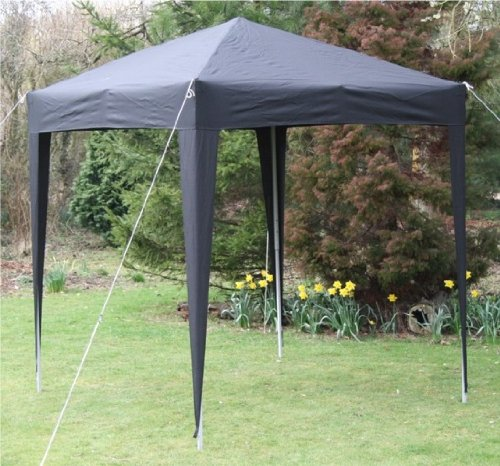 Airwave 2.0×2.0mtr Black Pop Up Gazebo, Fully Waterproof with Four Side Panels and Carrybag