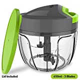 #5: Home Puff 3 Blades Vegetable Chopper, Cutter with Storage Lid (650ml)