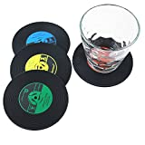 family-baby Lot de 8CD Rétro Disque Vinyle Dessous de verres pour café