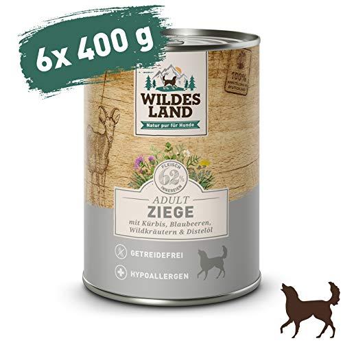 Wildes Land | Nassfutter für Hunde | Ziege | 6 x 400 g | mit Kürbis, Blaubeeren, Wildkräutern und Distelöl | Glutenfrei | Extra viel Fleisch | Beste Akzeptanz und Verträglichkeit