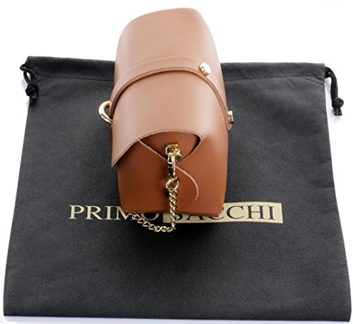 Borsa da sera Mini piccolo Micro spalla a tracolla pelle italiana con tracolla a catena in metallo.Include sacchetto protettivo marca Scuro Tan