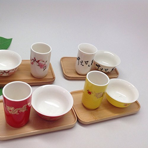 Chinese Tea Tasting Cup Half Oz 4 Mix Tasting Cups with Bamboo Coaster by Music City Tea -