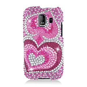 Eagle Cell PDHWU8665F395 RingBling Brilliant Diamond Case for Huawei Fusion 2 U8665 - Retail Packaging - Pink Heart