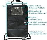 Sicherster Premium Auto-Organizer,ISO-zertifiziert,5 Fächer+großer Tasche, wasserdicht,mit durchsichtigem bedienbarem iPad-Tablet-Halter,Rückenlehnenschutz,Rückenlehnen-Tasche,Trittschutz mit Rücksitz-Organizer,schwarz,Rücksitzschoner,Utensilientasche//Kick-Matten-Schutz für den Autositz