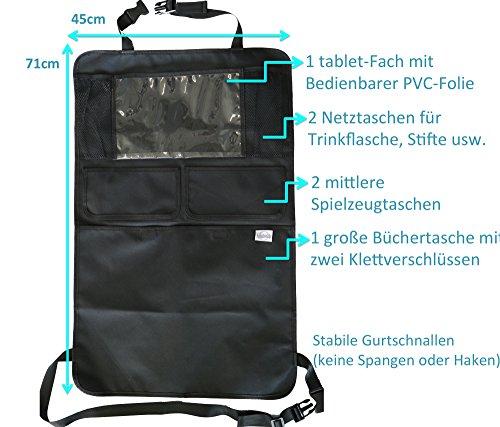 Sicherster Premium Auto-Organizer/Rückenlehnenschutz mit 6 großen und kleinen Fächern & mit iPad-Tablet-Halter & // Rückenlehnen-Tasche,Trittschutz mit Rücksitz-Organizer,schwarz,Rücksitzschoner,Utensilientasche//Kick-Matten-Schutz für den Autositz