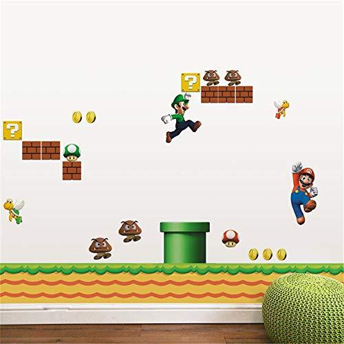 (zzlfn3lv Super Mario Brothers PVC Wandaufkleber Abziehbilder Kinder Dekoration Baby Raumdekoration)