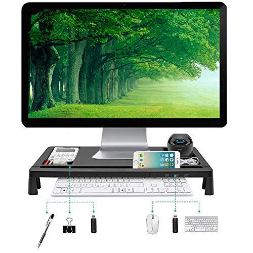 Housefar Monitorständer mit USB,3 USB-Anschlüssen für Computer, Laptop, Bildschirm, Drucker, TV und viele weitere Geräte(Schwarz) (Monitor Usb-anschluss)