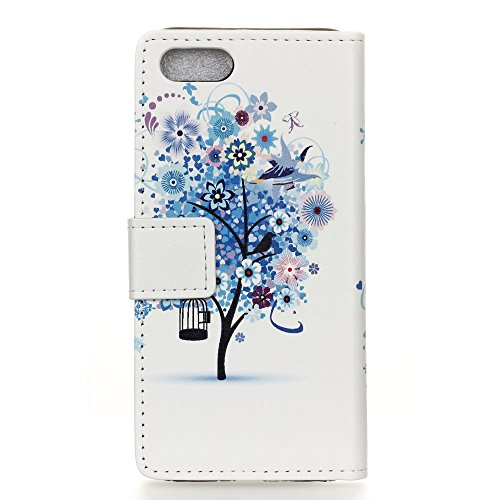 Voguecase® für Apple iPhone 7 4.7 hülle,(Gelb Leopard) Kunstleder Tasche PU Schutzhülle Tasche Leder Brieftasche Hülle Case Cover + Gratis Universal Eingabestift Blau Baum