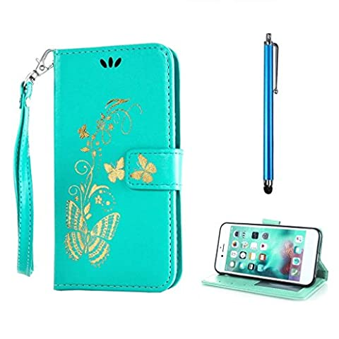 KSHOP Book Style for Huawei P9 Wallet Case Flip Folio Stand PU Leather Colorful Painting Ultra Slim Pattern Practical Shell with Green Bronzing Print Butterfly Anti-Shock Scratch-resistant Protective Skin Bumper Cover + Metal Touch Pen,Blue