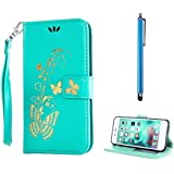 KSHOP Etui Samsung Galaxy A5 2016 (not for 2015 Version) PU Cuir Coque Housse Portefeuille Dragonne Case Cover de Protection Swag Book Style Shell avec Fonction Support Bronzage Motif Papillon Vert + Métal Stylet Pen